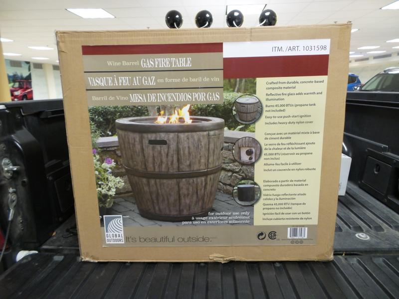 Global outdoors wine barrel gas fire table up for bids at for Global outdoors fire table