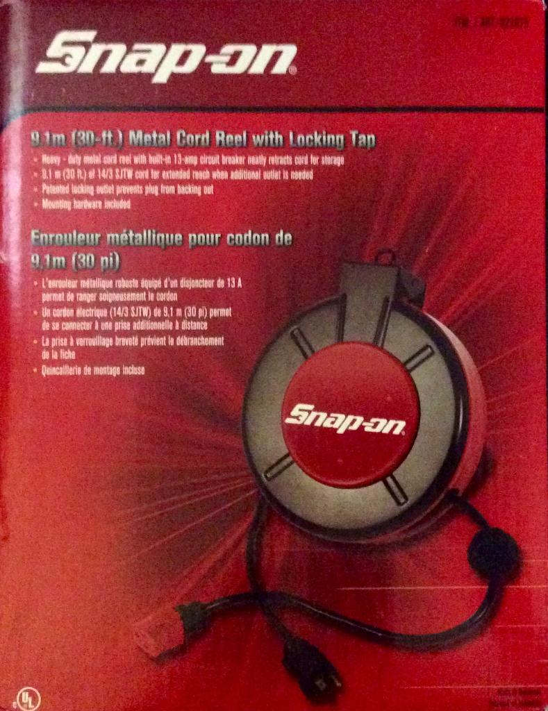 Snap On 30 Retractable Power Cord Up For Bids At Cole Harbour Extension Reel W Circuit Breaker Item 54018 Image Thumbnail