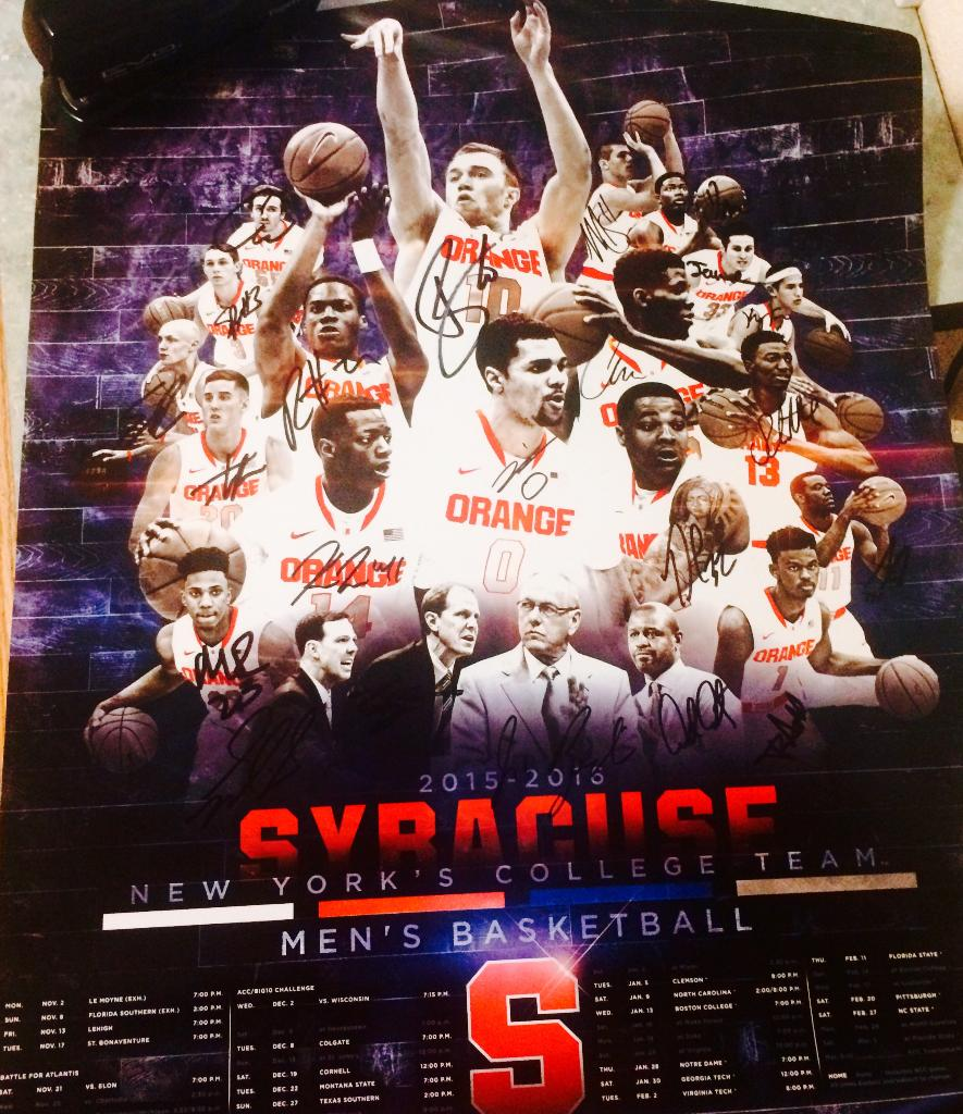Syracuse Men S Basketball Signed Poster Up For Bids At Syracuse