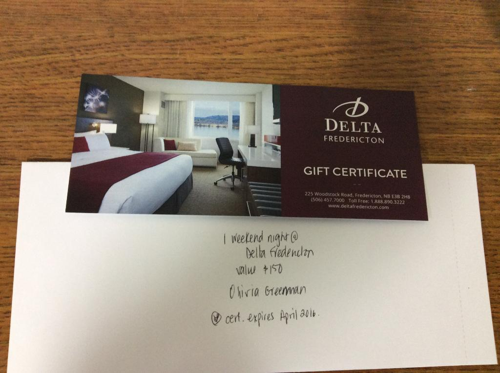 Gift Certificate To Delta Hotel Up For Bids At Capital Competitive